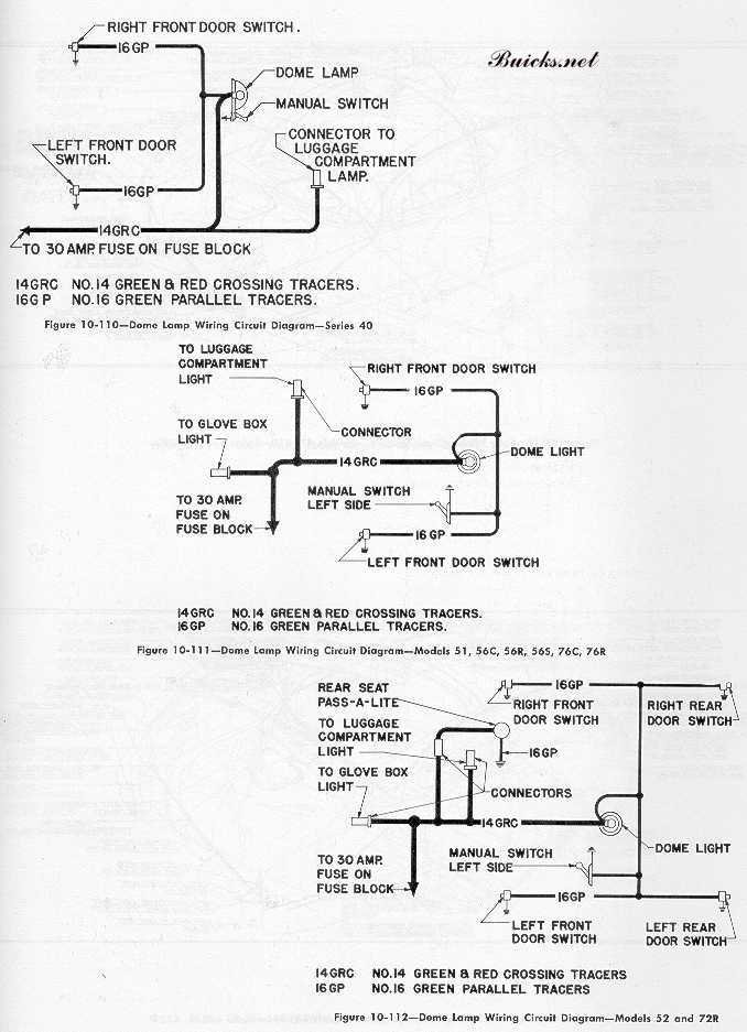 1951 buick models wiring diagram dome lamps